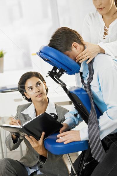 Massagem escritório ocupado executivo trabalhando cadeira Foto stock © nyul