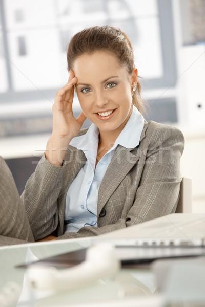 Vonzó lány elvesz törik iroda mosolyog fiatal Stock fotó © nyul