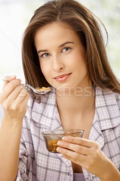здорового завтрак улыбаясь камеры лице Сток-фото © nyul