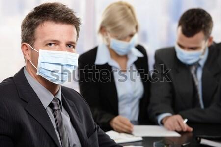 Zdjęcia stock: Ludzi · biznesu · wirusa · kobieta · interesu · h1n1 · świnia · grypa