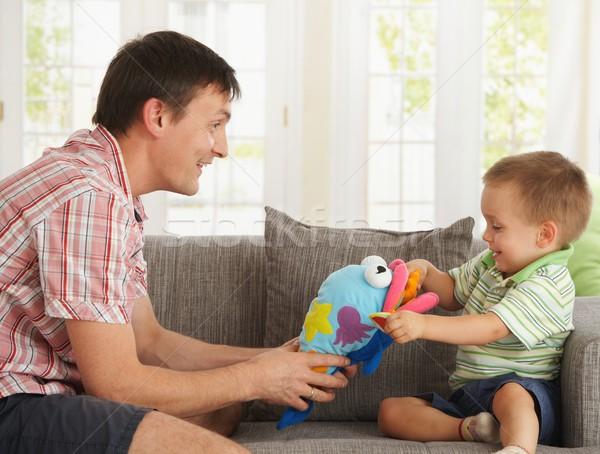 Photo stock: Père · en · fils · jouer · maison · heureux · canapé