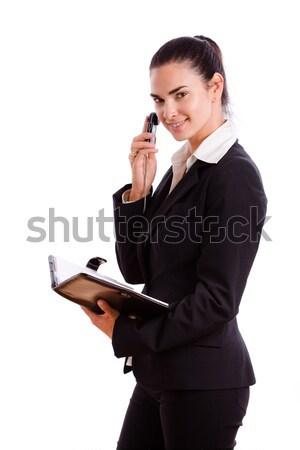 Stok fotoğraf: Mutlu · işkadını · çağrı · telefon · yalıtılmış · cep · telefonu