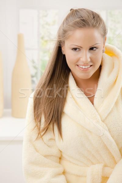 若い女性 バスローブ 肖像 幸せ 着用 黄色 ストックフォト © nyul