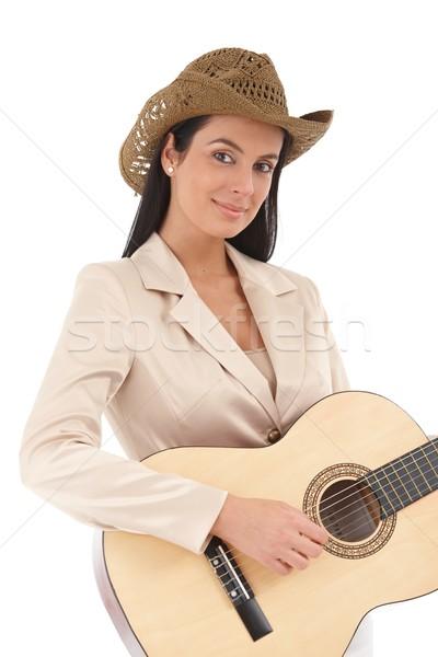 Portre güzel kadın gitarist oynama müzik Stok fotoğraf © nyul