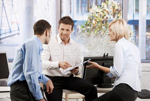 Equipo de negocios gente de la oficina planificación sonriendo mujer Foto stock © nyul