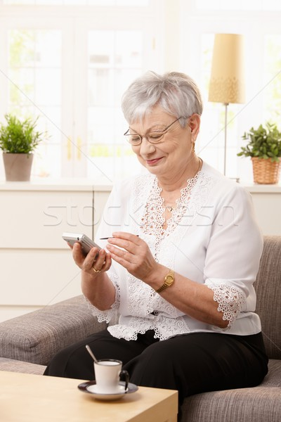 Senior woman using palmtop Stock photo © nyul