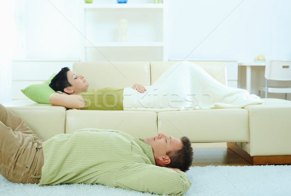 Couple sleeping at home Stock photo © nyul