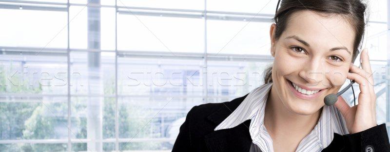 Feliz atendimento ao cliente representante falante telefone fone Foto stock © nyul