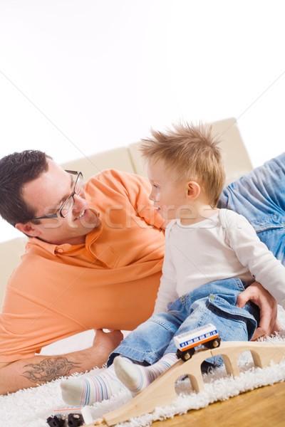 Apa gyermek játszik kétéves együtt fa játék Stock fotó © nyul