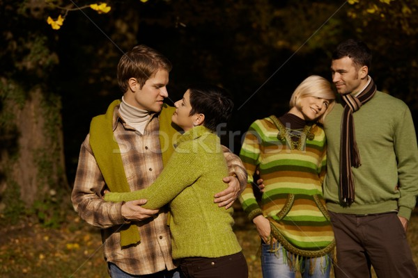 Young couples in autumn park Stock photo © nyul
