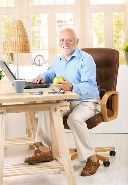 Foto stock: Homem · trabalhando · estudar · casa