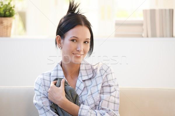 портрет довольно девушки улыбаясь камеры женщину Сток-фото © nyul