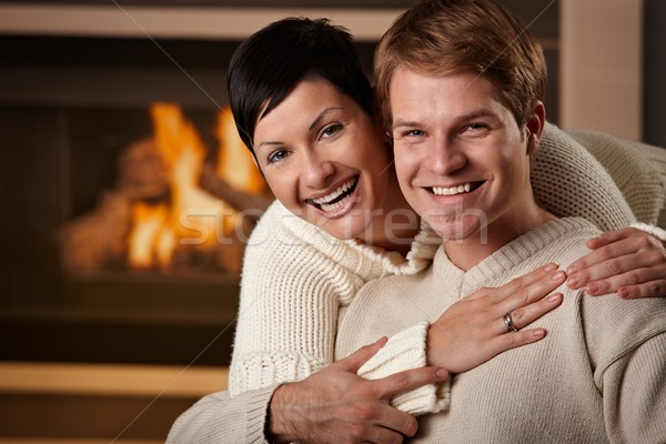 Couple hugging at home Stock photo © nyul