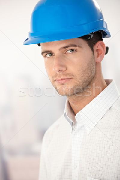 Portrait of goodlooking young man in helmet Stock photo © nyul