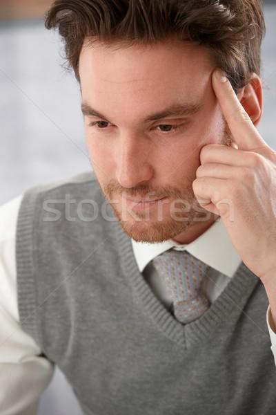 Closeup portrait of thinking man Stock photo © nyul