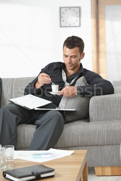 устал бизнесмен служба люди служба сидят диван Сток-фото © nyul