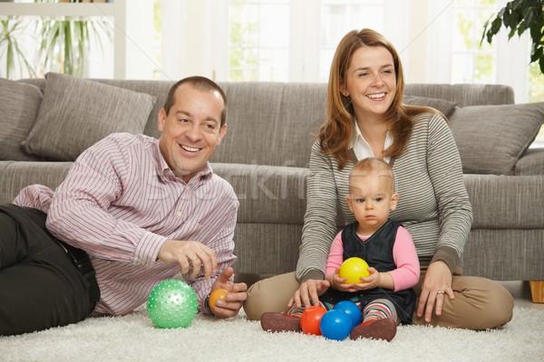 Photo stock: Heureux · parents · souriant · séance