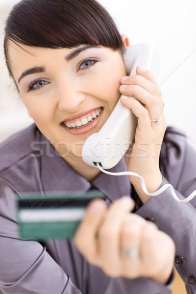 Vrouw winkelen online portret glimlachend Stockfoto © nyul