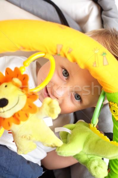 Foto d'archivio: Felice · baby · ragazzo · seduta · sorridere