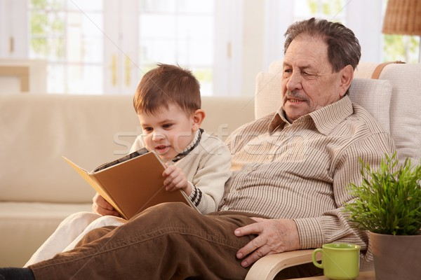 Foto stock: Abuelo · nieto · sesión · sillón · casa