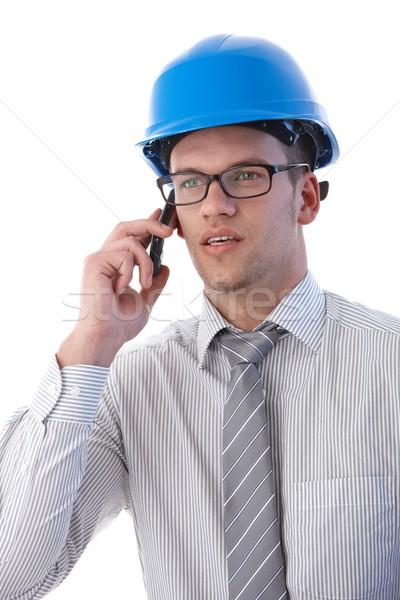 Stockfoto: Portret · architect · mobiele · jonge · praten · mobiele · telefoon