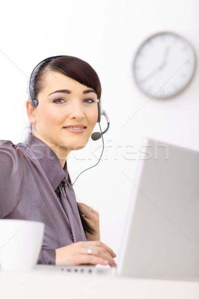 Operator working on laptop Stock photo © nyul