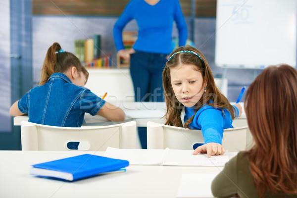 Stock foto: Schülerin · zurück · jungen · andere · Schüler · Arbeit