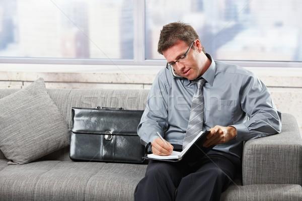 Businessman taking notes on sofa Stock photo © nyul