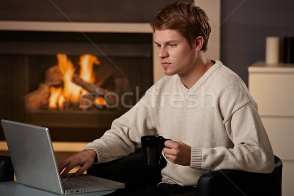 Young man working at home Stock photo © nyul