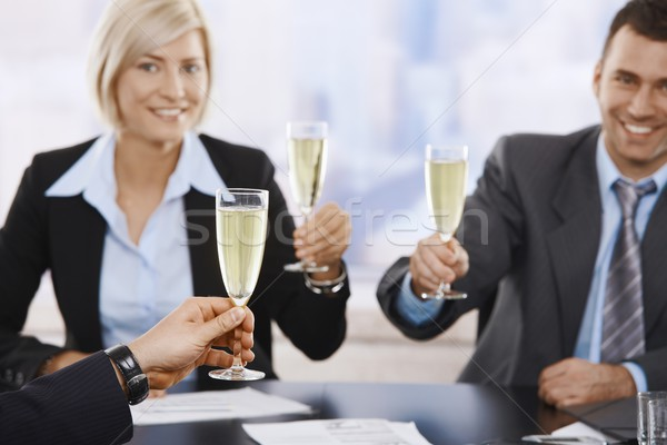 Stockfoto: Business · toast · champagne · gelukkig · jonge