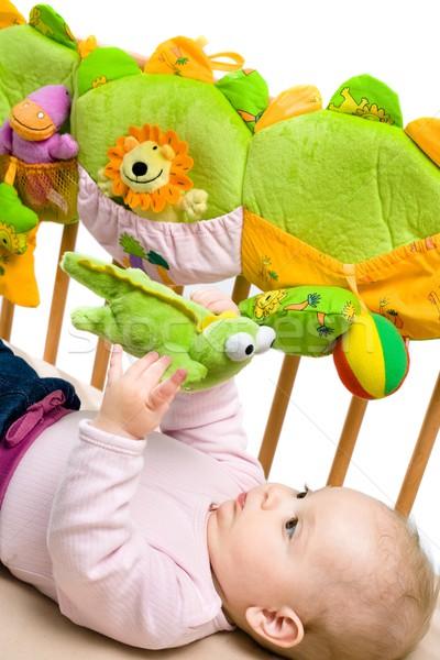 Baby bed Maakt een reservekopie meisje gelukkig kinderen Stockfoto © nyul
