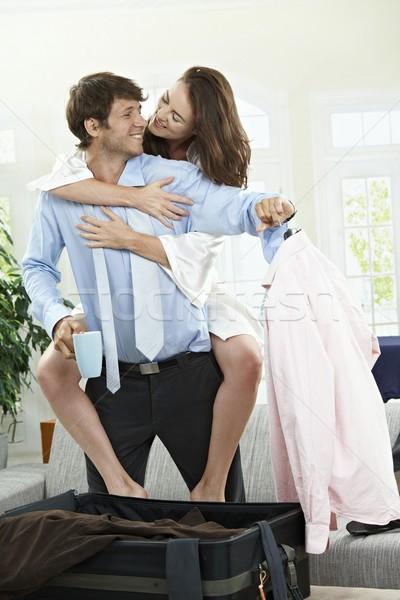 Iş gezisi mutlu çift ev sabah Stok fotoğraf © nyul