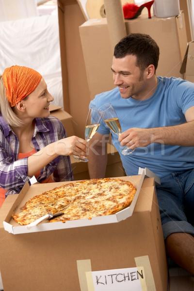 Pizza break at moving house Stock photo © nyul