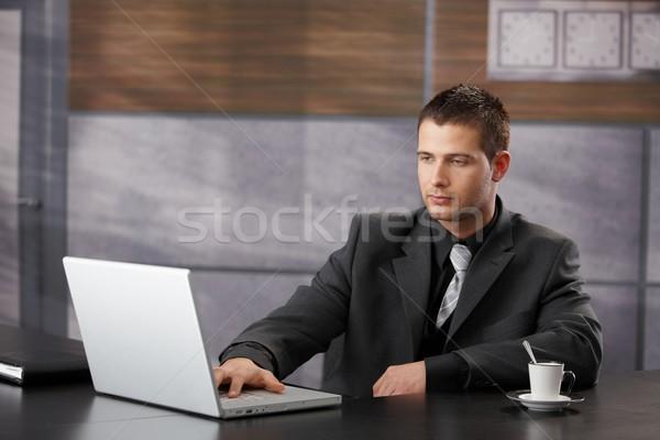 Foto stock: Superior · gerente · de · trabajo · portátil · negocios · ordenador