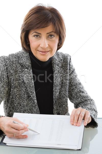 Finansowych doradca starszy kobieta interesu papieru Zdjęcia stock © nyul
