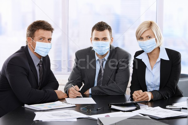 Uomini d'affari virus h1n1 influenza indossare Foto d'archivio © nyul