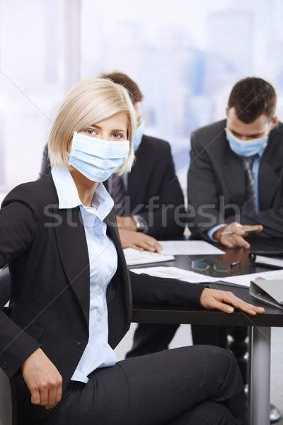 деловые люди h1n1 вирус деловая женщина свинья грипп Сток-фото © nyul