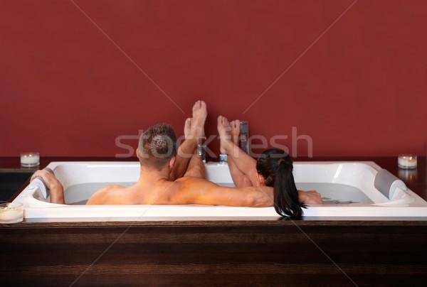 Casal retrato amoroso jacuzzi relaxante Foto stock © nyul