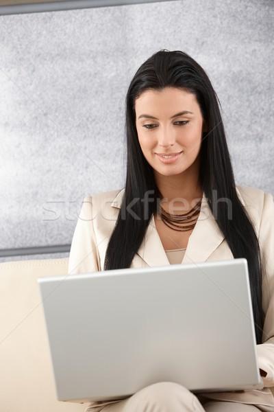 Stock fotó: Fiatal · üzletasszony · internet · vonzó · laptop · mosolyog