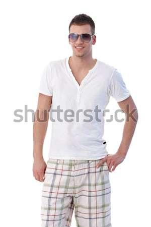 Stockfoto: Knap · vent · zonnebril · zomer · glimlachend