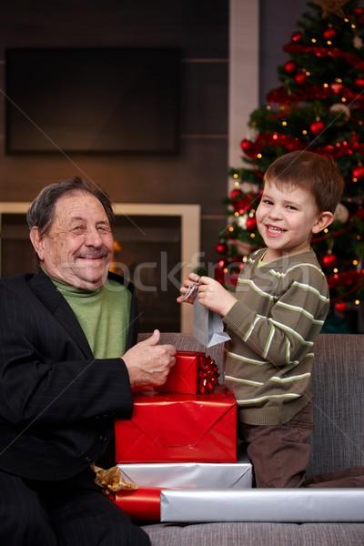 Stok fotoğraf: Erkek · Noel · sunmak · dede · küçük · mutlu