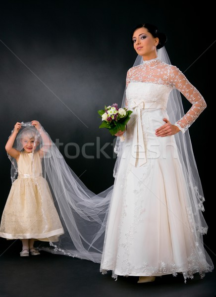 Bride with little bridesmaid Stock photo © nyul