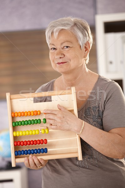 Foto stock: Senior · professor · ábaco · ensino · matemática