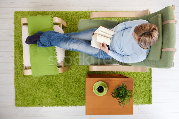 Woman reading at home Stock photo © nyul