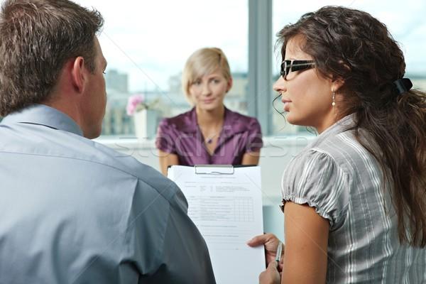 Entretien d'embauche parler questionnaire forme épaule vue Photo stock © nyul