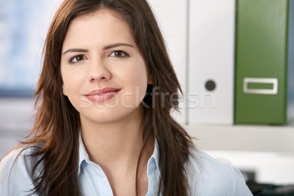 Zdjęcia stock: Nice · dziewczyna · uśmiechnięty · dość · zawodowych · kamery