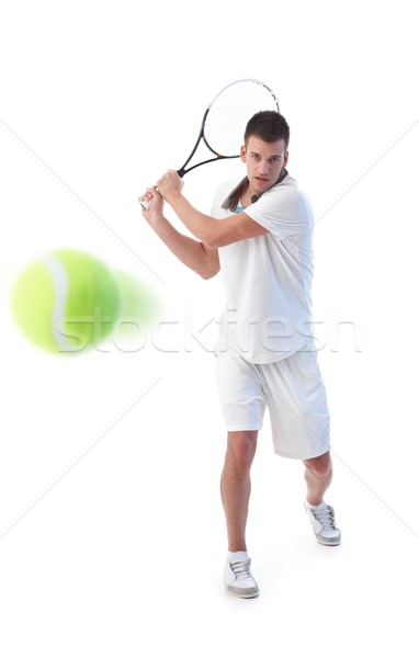 Tennis player doing backhand stroke Stock photo © nyul