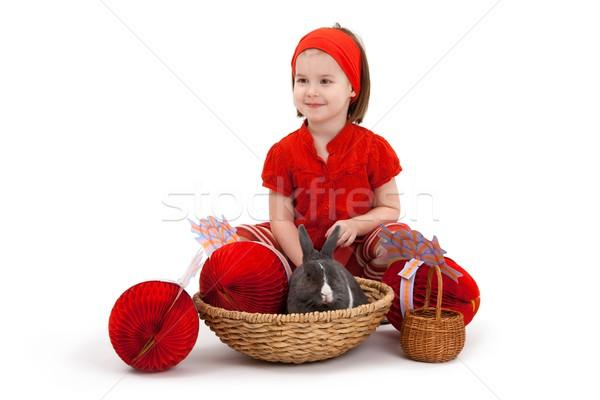 Meisje Easter Bunny Pasen afbeelding glimlachend geïsoleerd Stockfoto © nyul