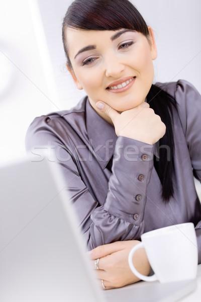 Pensare caffè giovani imprenditore seduta desk Foto d'archivio © nyul