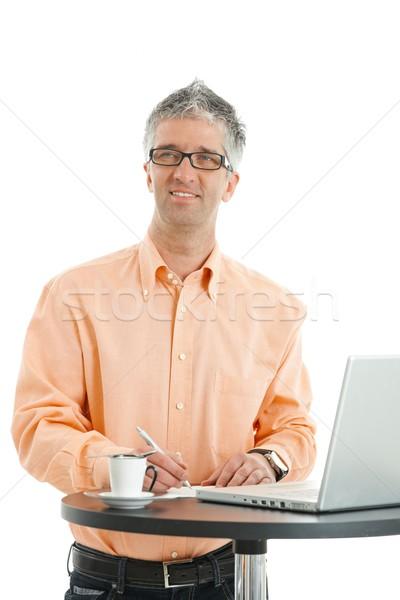 Empresário escrita notas casual laranja Foto stock © nyul